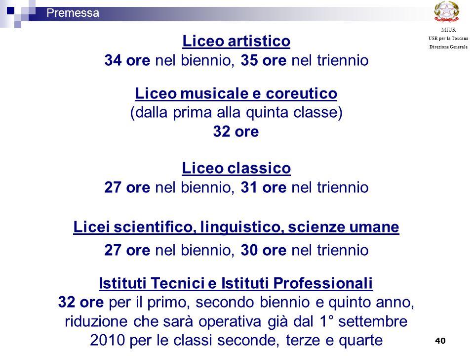40 Premessa MIUR USR per la Toscana Direzione Generale Liceo artistico 34 ore nel biennio, 35 ore nel triennio Liceo musicale e coreutico (dalla prima