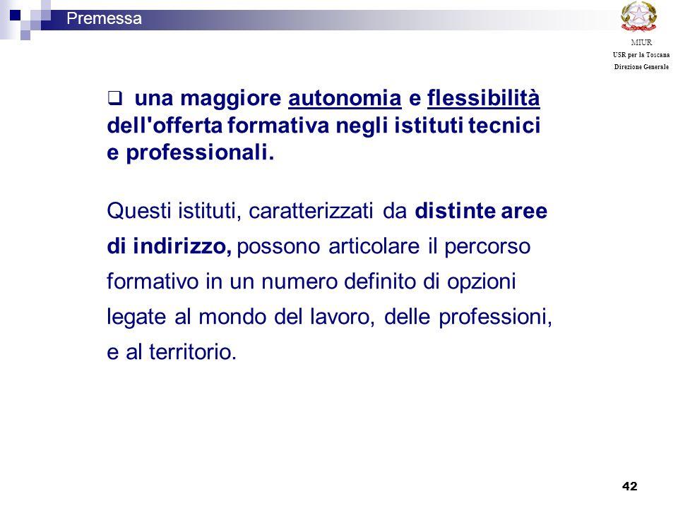 42 una maggiore autonomia e flessibilità dell'offerta formativa negli istituti tecnici e professionali. Questi istituti, caratterizzati da distinte ar