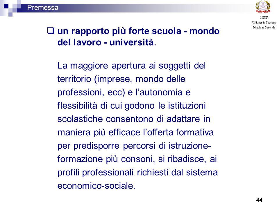 44 un rapporto più forte scuola - mondo del lavoro - università. La maggiore apertura ai soggetti del territorio (imprese, mondo delle professioni, ec