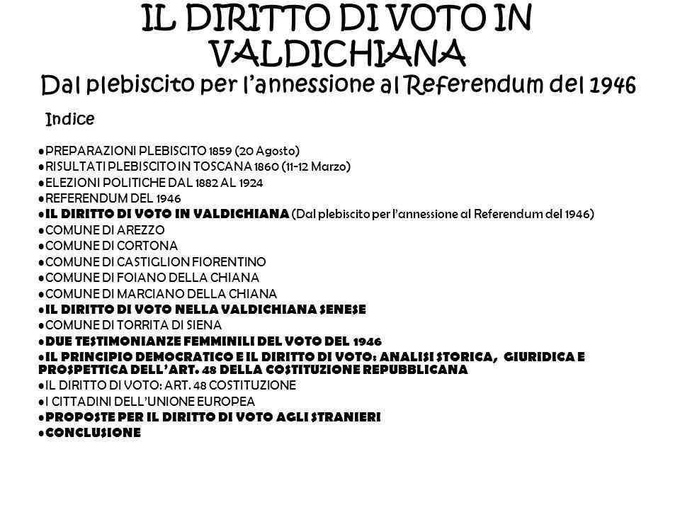 IL DIRITTO DI VOTO IN VALDICHIANA Dal plebiscito per lannessione al Referendum del 1946Indice PREPARAZIONI PLEBISCITO 1859 (20 Agosto) RISULTATI PLEBI