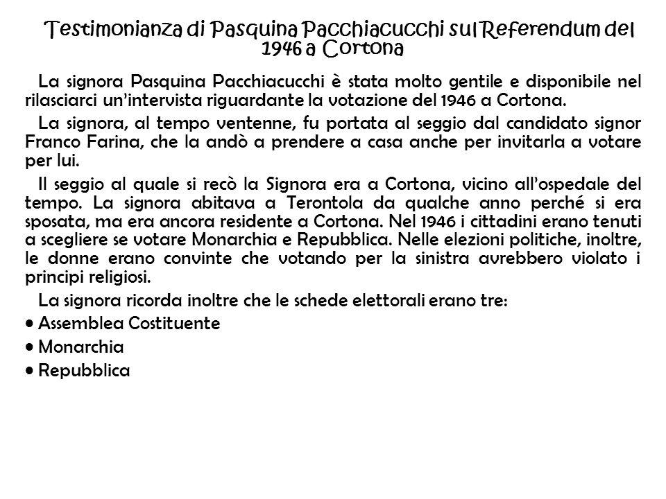 Testimonianza di Pasquina Pacchiacucchi sul Referendum del 1946 a Cortona La signora Pasquina Pacchiacucchi è stata molto gentile e disponibile nel ri
