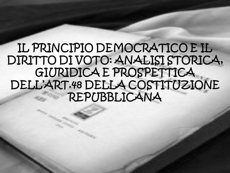 IL PRINCIPIO DEMOCRATICO E IL DIRITTO DI VOTO: ANALISI STORICA, GIURIDICA E PROSPETTICA DELLART.48 DELLA COSTITUZIONE REPUBBLICANA