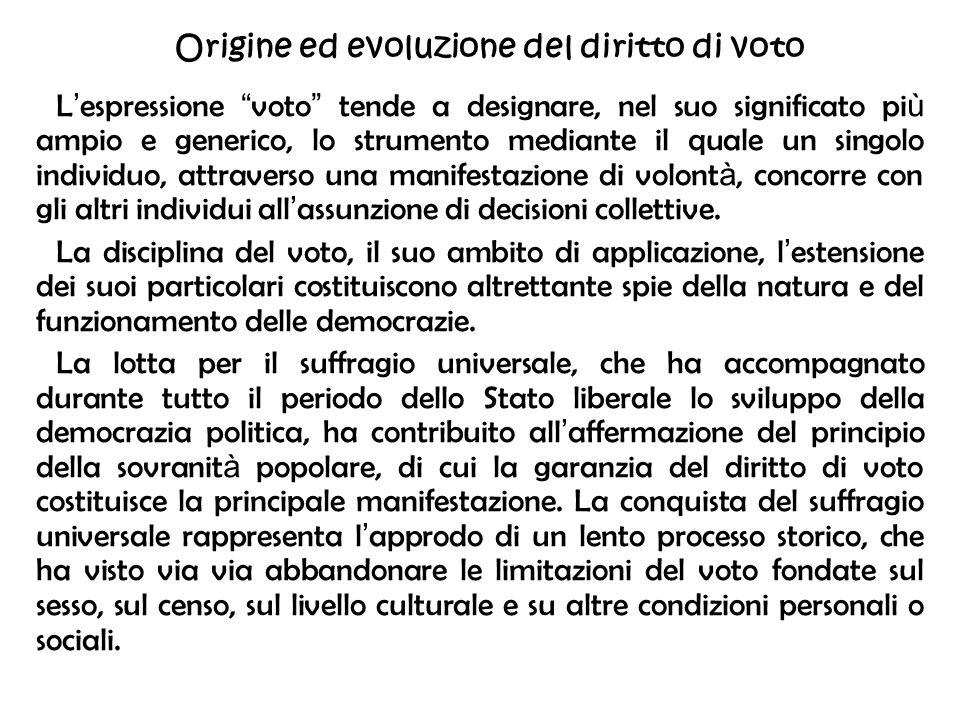 Origine ed evoluzione del diritto di voto L espressione voto tende a designare, nel suo significato pi ù ampio e generico, lo strumento mediante il qu