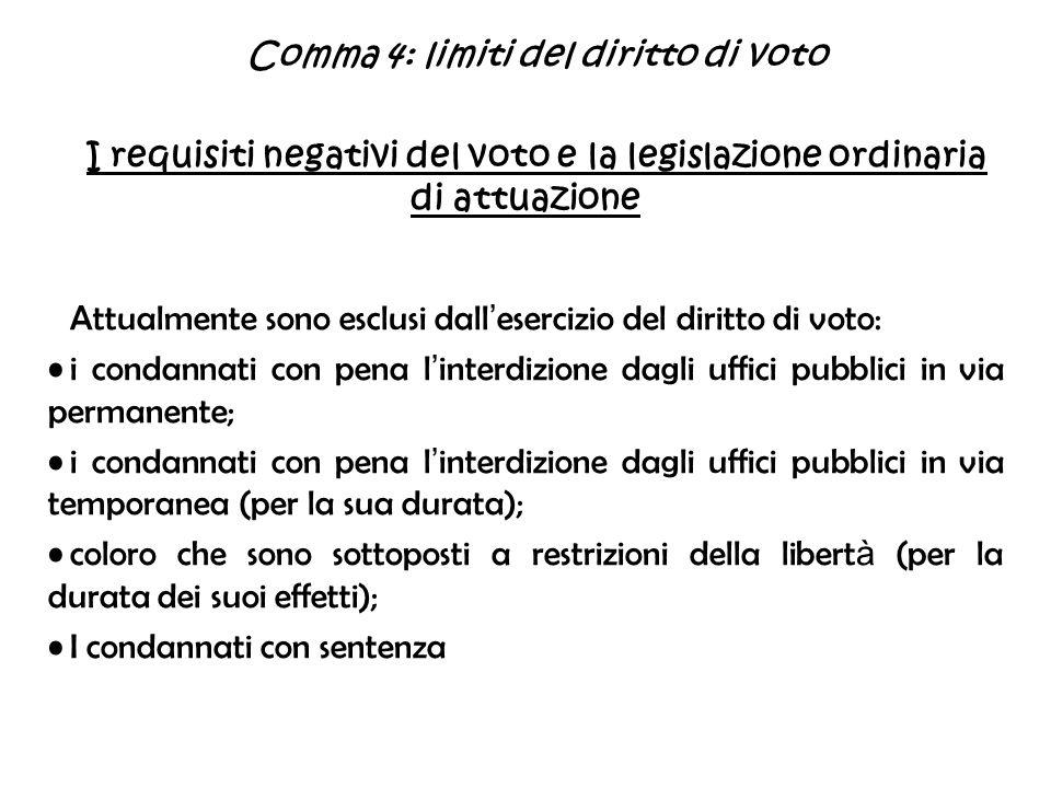 Comma 4: limiti del diritto di voto I requisiti negativi del voto e la legislazione ordinaria di attuazione Attualmente sono esclusi dall esercizio de