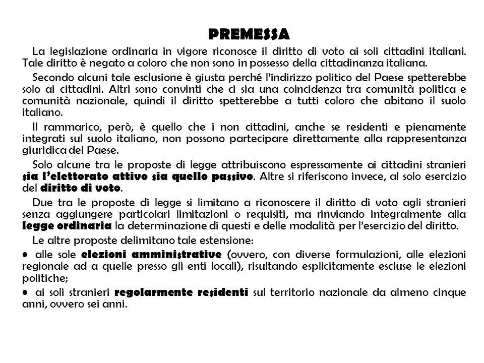 PREMESSA La legislazione ordinaria in vigore riconosce il diritto di voto ai soli cittadini italiani. Tale diritto è negato a coloro che non sono in p