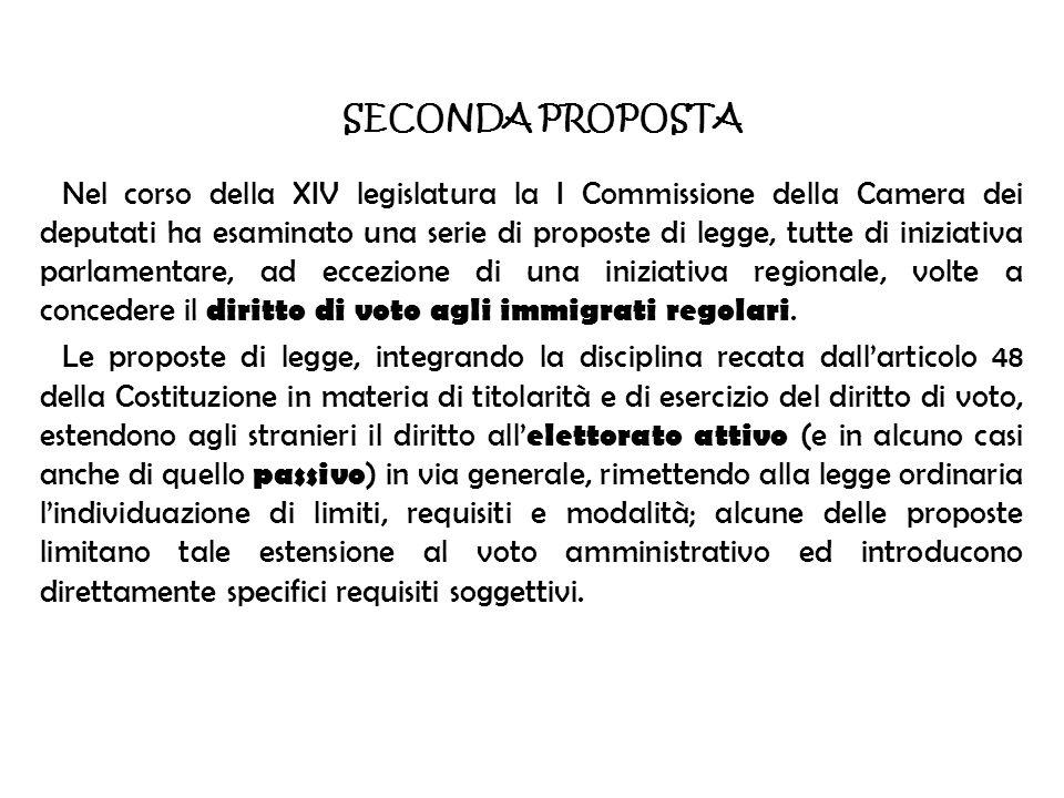 SECONDA PROPOSTA Nel corso della XIV legislatura la I Commissione della Camera dei deputati ha esaminato una serie di proposte di legge, tutte di iniz