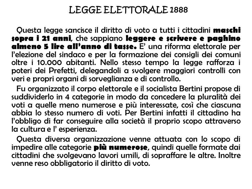 LEGGE ELETTORALE 1888 Questa legge sancisce il diritto di voto a tutti i cittadini maschi sopra i 21 anni, che sappiano leggere e scrivere e paghino a