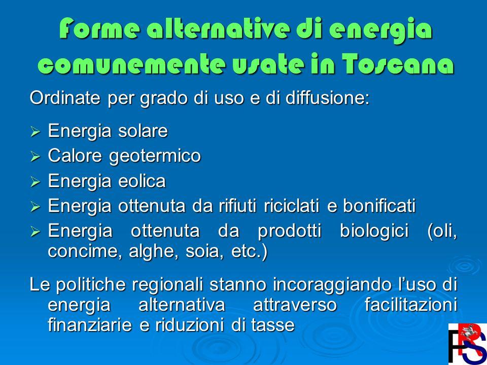 Forme alternative di energia comunemente usate in Toscana Ordinate per grado di uso e di diffusione: Energia solare Energia solare Calore geotermico C