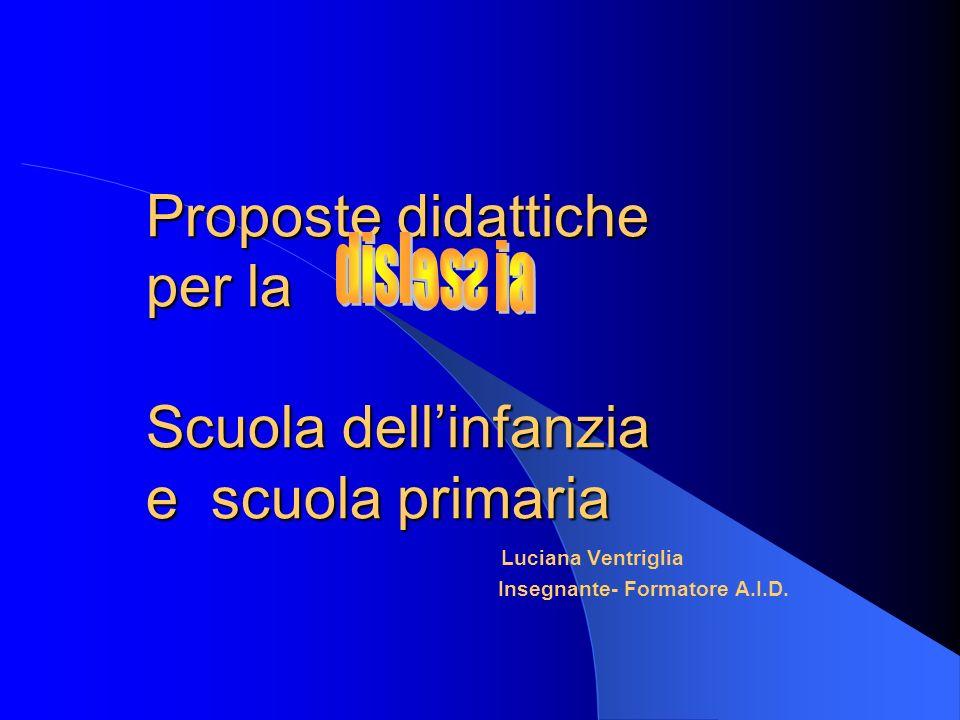 Proposte didattiche per la Scuola dellinfanzia e scuola primaria Luciana Ventriglia Insegnante- Formatore A.I.D.