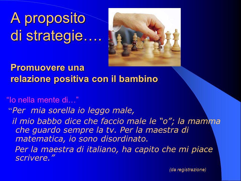 A proposito di strategie…. Promuovere una relazione positiva con il bambino Io nella mente di… Per mia sorella io leggo male, il mio babbo dice che fa
