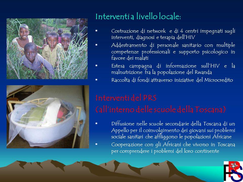 Interventi a livello locale: Costruzione di network e di 4 centri impegnati sugli interventi, diagnosi e terapia dellHIV Addestramento di personale sa
