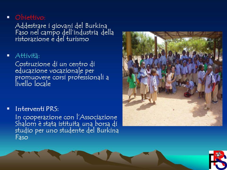 Obiettivo: Addestrare i giovani del Burkina Faso nel campo dellindustria della ristorazione e del turismo Attività: Costruzione di un centro di educaz