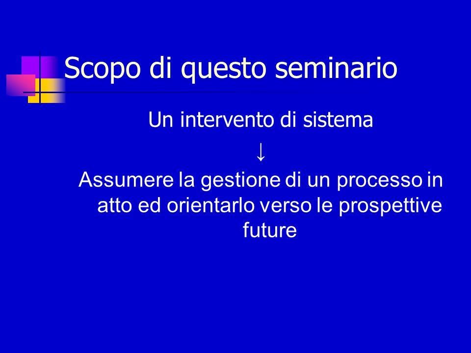 Scopo di questo seminario Un intervento di sistema Assumere la gestione di un processo in atto ed orientarlo verso le prospettive future