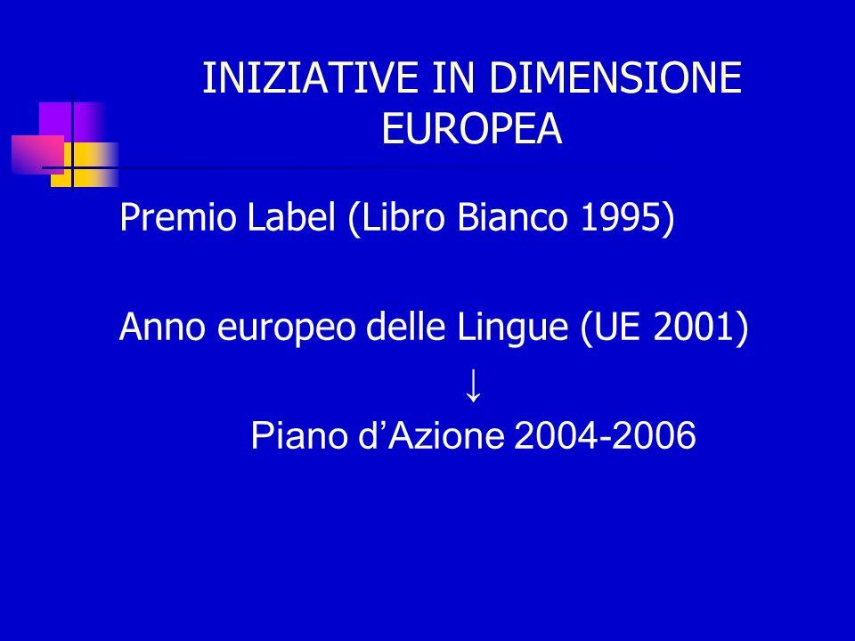 INIZIATIVE IN DIMENSIONE EUROPEA Premio Label (Libro Bianco 1995) Anno europeo delle Lingue (UE 2001) Piano dAzione 2004-2006