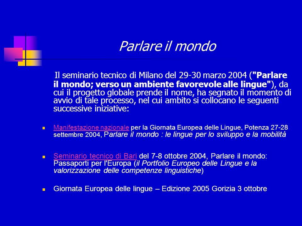 Parlare il mondo Il seminario tecnico di Milano del 29-30 marzo 2004 ( Parlare il mondo; verso un ambiente favorevole alle lingue ), da cui il progetto globale prende il nome, ha segnato il momento di avvio di tale processo, nel cui ambito si collocano le seguenti successive iniziative: Manifestazione nazionale per la Giornata Europea delle Lingue, Potenza 27-28 settembre 2004, Parlare il mondo : le lingue per lo sviluppo e la mobilità Manifestazione nazionale Seminario tecnico di Bari del 7-8 ottobre 2004, Parlare il mondo: Passaporti per l Europa (il Portfolio Europeo delle Lingue e la valorizzazione delle competenze linguistiche) Seminario tecnico di Bari Giornata Europea delle lingue – Edizione 2005 Gorizia 3 ottobre