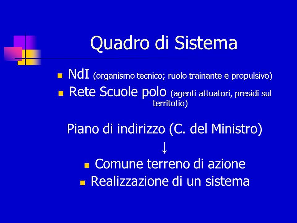 Quadro di Sistema NdI (organismo tecnico; ruolo trainante e propulsivo) Rete Scuole polo (agenti attuatori, presidi sul territotio) Piano di indirizzo (C.