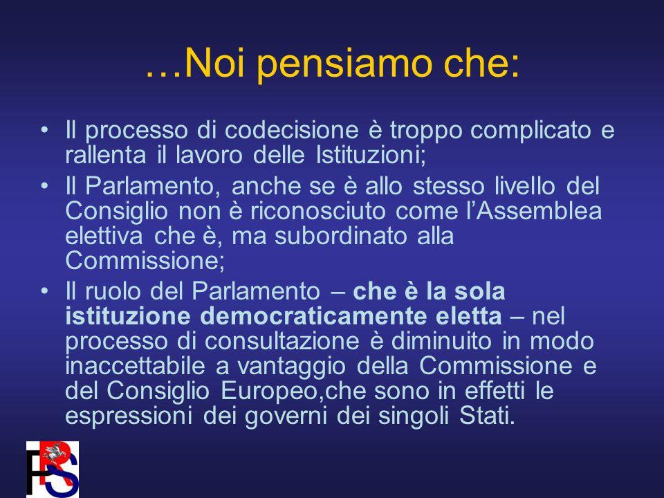…Noi pensiamo che: Il processo di codecisione è troppo complicato e rallenta il lavoro delle Istituzioni; Il Parlamento, anche se è allo stesso livello del Consiglio non è riconosciuto come lAssemblea elettiva che è, ma subordinato alla Commissione; Il ruolo del Parlamento – che è la sola istituzione democraticamente eletta – nel processo di consultazione è diminuito in modo inaccettabile a vantaggio della Commissione e del Consiglio Europeo,che sono in effetti le espressioni dei governi dei singoli Stati.
