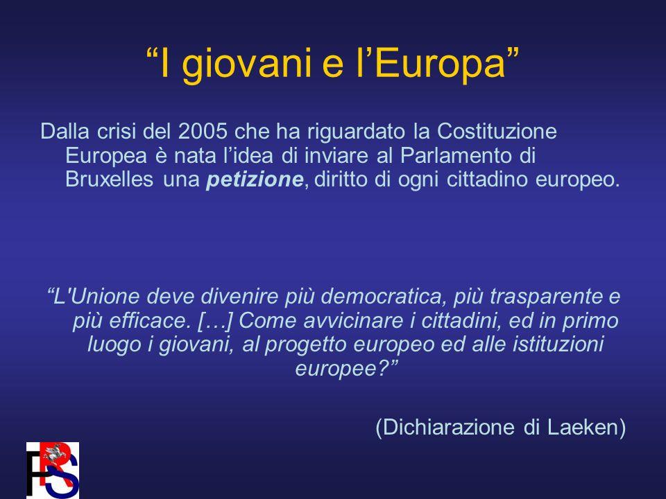 I giovani e lEuropa Dalla crisi del 2005 che ha riguardato la Costituzione Europea è nata lidea di inviare al Parlamento di Bruxelles una petizione, diritto di ogni cittadino europeo.