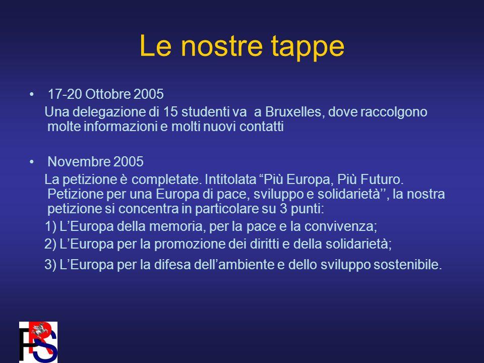 Le nostre tappe 17-20 Ottobre 2005 Una delegazione di 15 studenti va a Bruxelles, dove raccolgono molte informazioni e molti nuovi contatti Novembre 2005 La petizione è completate.