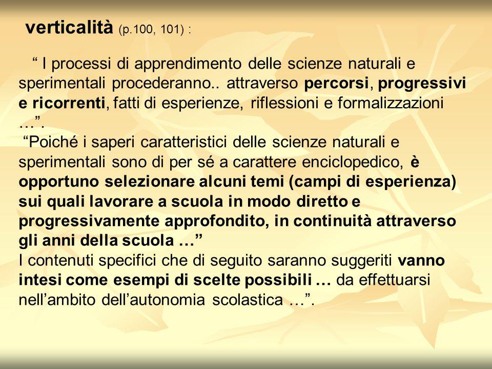 verticalità (p.100, 101) : I processi di apprendimento delle scienze naturali e sperimentali procederanno..