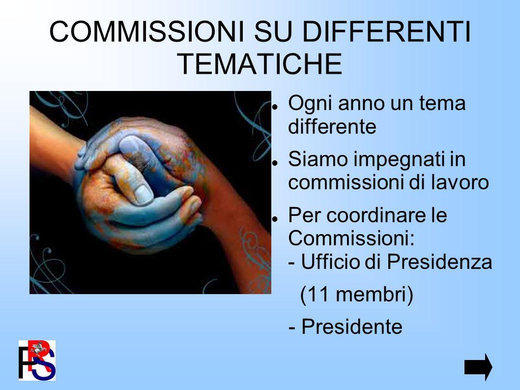 COMMISSIONI SU DIFFERENTI TEMATICHE Ogni anno un tema differente Siamo impegnati in commissioni di lavoro Per coordinare le Commissioni: - Ufficio di Presidenza (11 membri) - Presidente