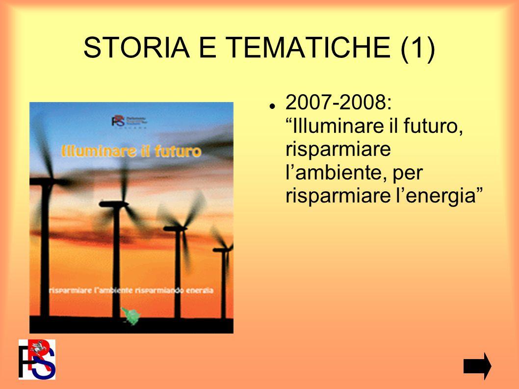 STORIA E TEMATICHE (1) 2007-2008: Illuminare il futuro, risparmiare lambiente, per risparmiare lenergia