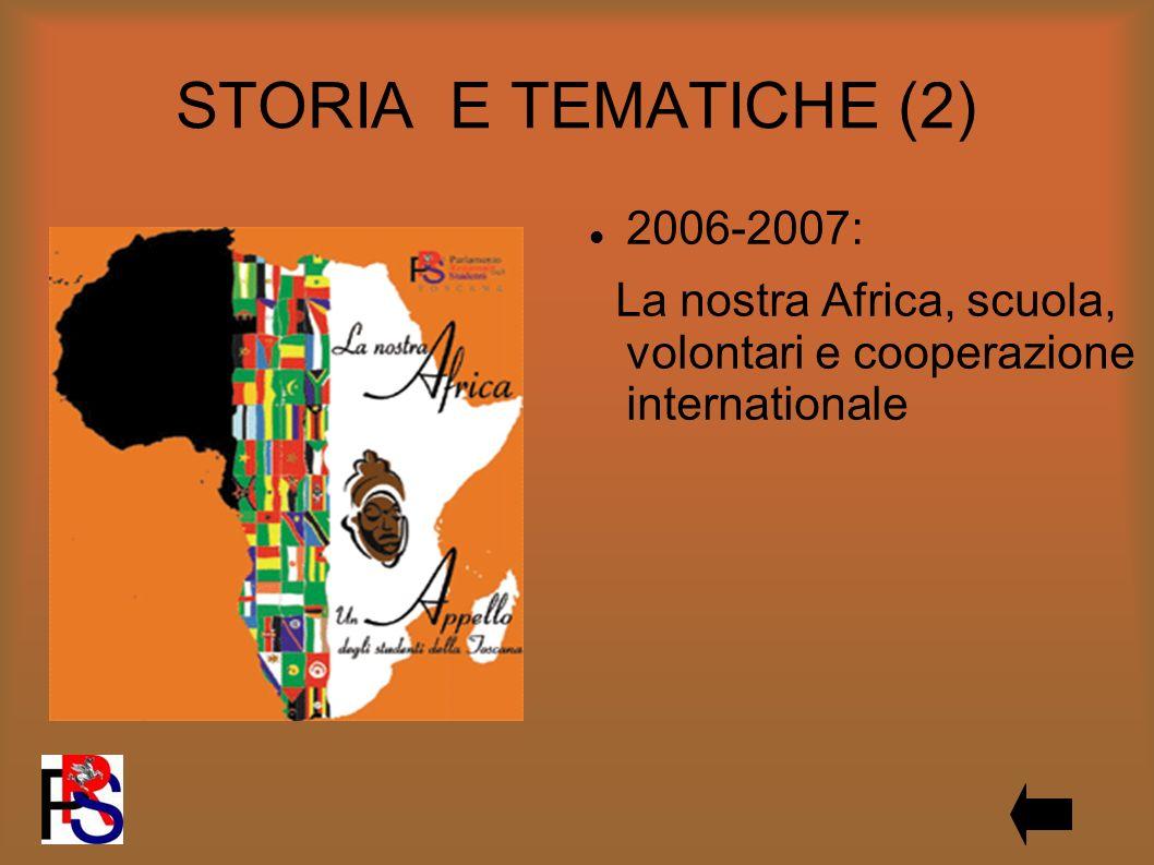 STORIA E TEMATICHE (2) 2006-2007: La nostra Africa, scuola, volontari e cooperazione internationale