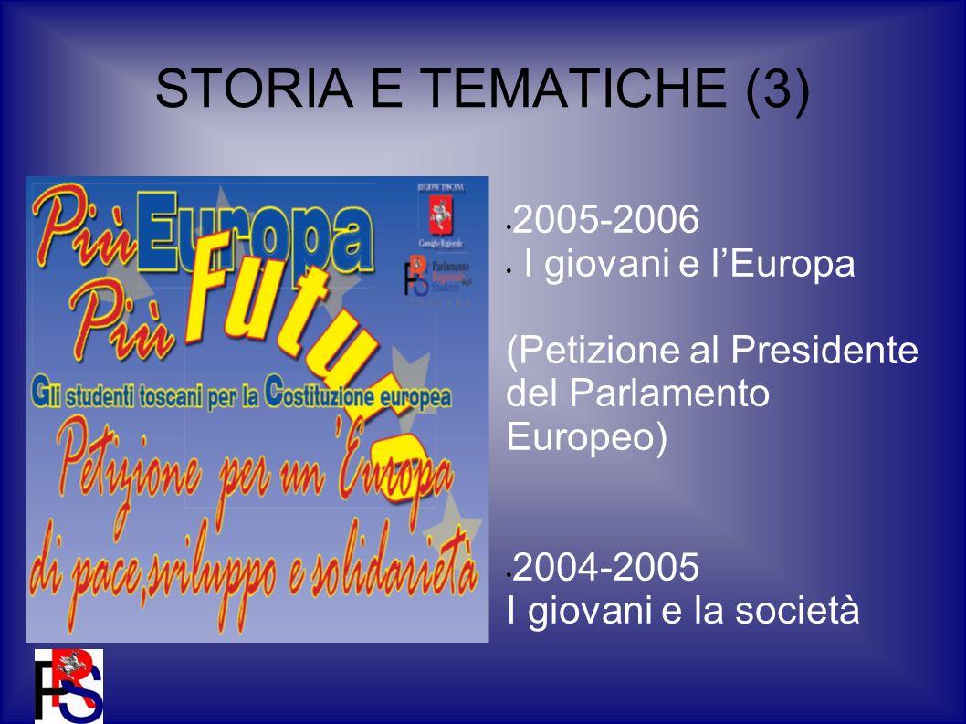 STORIA E TEMATICHE (3) 2005-2006 I giovani e lEuropa (Petizione al Presidente del Parlamento Europeo) 2004-2005 I giovani e la società
