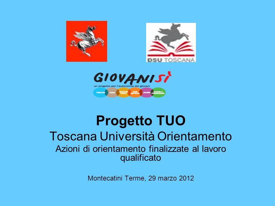 Progetto TUO Toscana Università Orientamento Azioni di orientamento finalizzate al lavoro qualificato Montecatini Terme, 29 marzo 2012