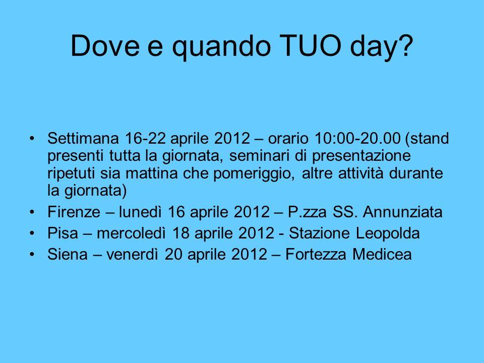 Dove e quando TUO day? Settimana 16-22 aprile 2012 – orario 10:00-20.00 (stand presenti tutta la giornata, seminari di presentazione ripetuti sia matt