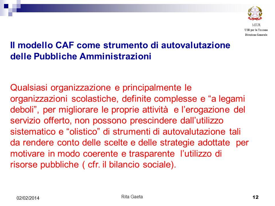 12 02/02/2014 MIUR USR per la Toscana Direzione Generale Rita Gaeta Il modello CAF come strumento di autovalutazione delle Pubbliche Amministrazioni Q