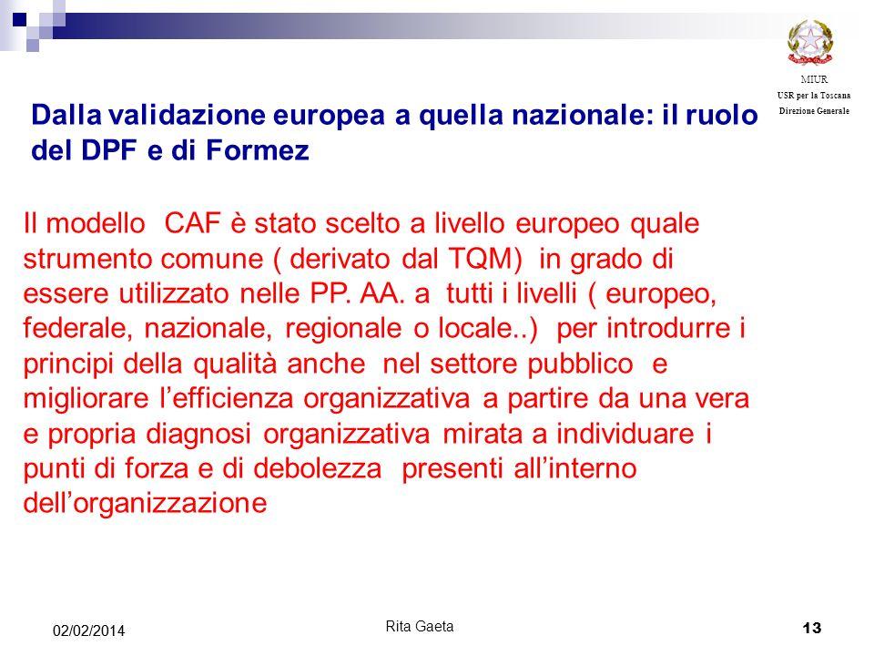 13 02/02/2014 MIUR USR per la Toscana Direzione Generale Rita Gaeta Dalla validazione europea a quella nazionale: il ruolo del DPF e di Formez Il mode