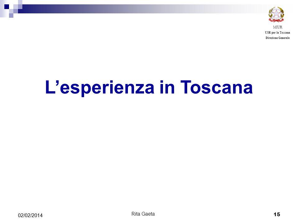15 02/02/2014 MIUR USR per la Toscana Direzione Generale Lesperienza in Toscana Rita Gaeta