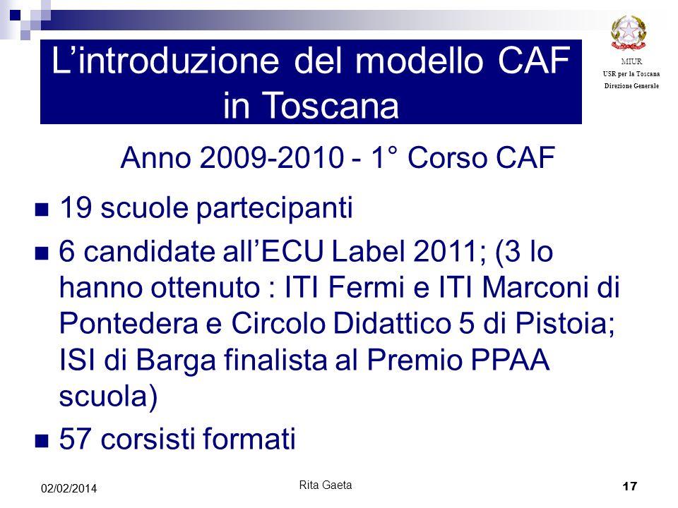 17 02/02/2014 MIUR USR per la Toscana Direzione Generale Lintroduzione del modello CAF in Toscana Anno 2009-2010 - 1° Corso CAF 19 scuole partecipanti