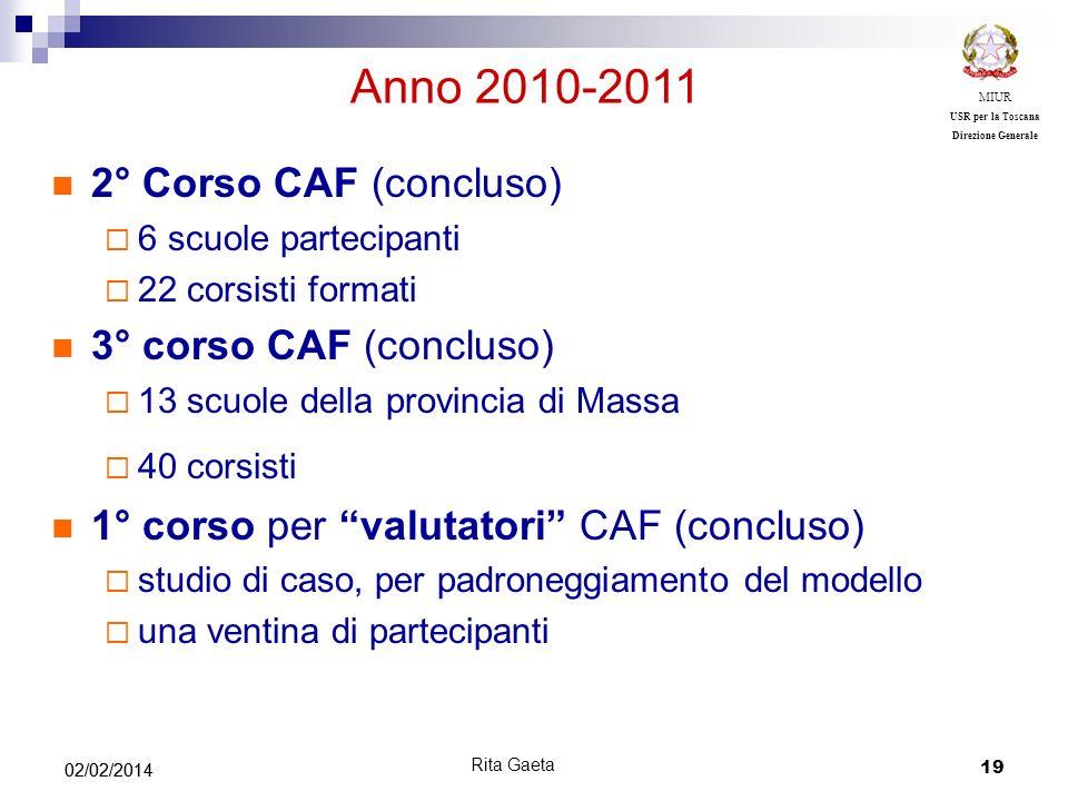 19 02/02/2014 MIUR USR per la Toscana Direzione Generale Anno 2010-2011 2° Corso CAF (concluso) 6 scuole partecipanti 22 corsisti formati 3° corso CAF