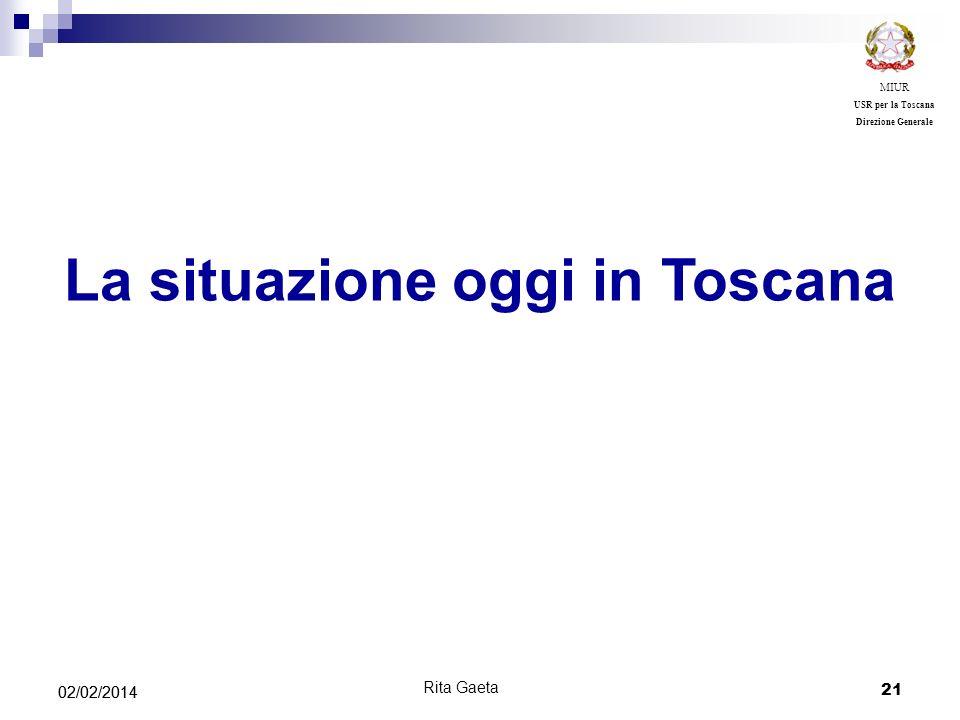 21 02/02/2014 MIUR USR per la Toscana Direzione Generale La situazione oggi in Toscana Rita Gaeta