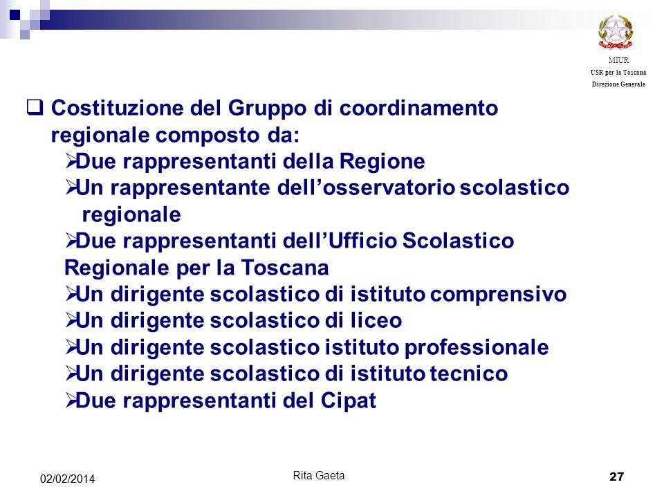 27 02/02/2014 MIUR USR per la Toscana Direzione Generale Costituzione del Gruppo di coordinamento regionale composto da: Due rappresentanti della Regi