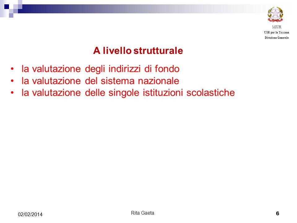 6 02/02/2014 MIUR USR per la Toscana Direzione Generale Rita Gaeta la valutazione degli indirizzi di fondo la valutazione del sistema nazionale la val