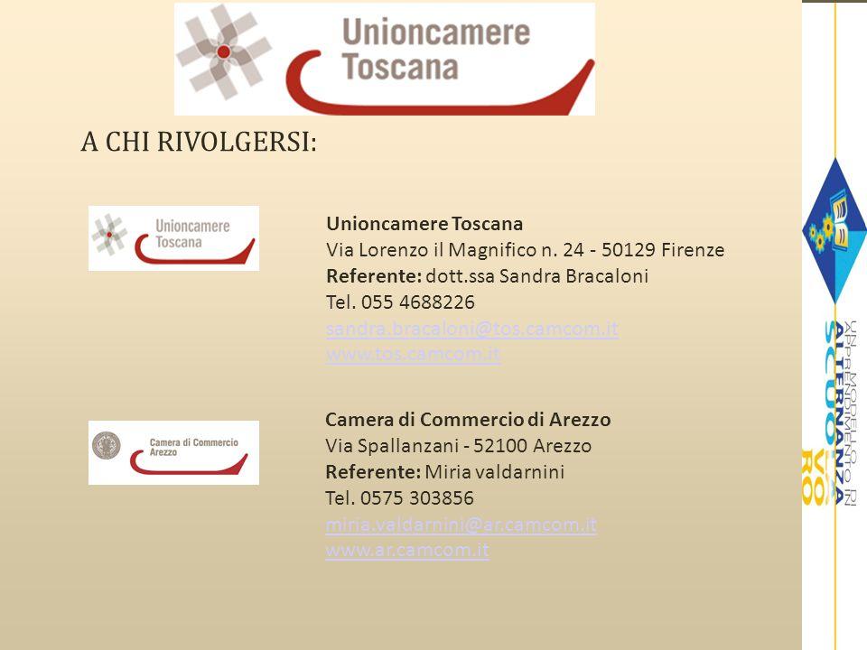 A CHI RIVOLGERSI: Unioncamere Toscana Via Lorenzo il Magnifico n. 24 - 50129 Firenze Referente: dott.ssa Sandra Bracaloni Tel. 055 4688226 sandra.brac