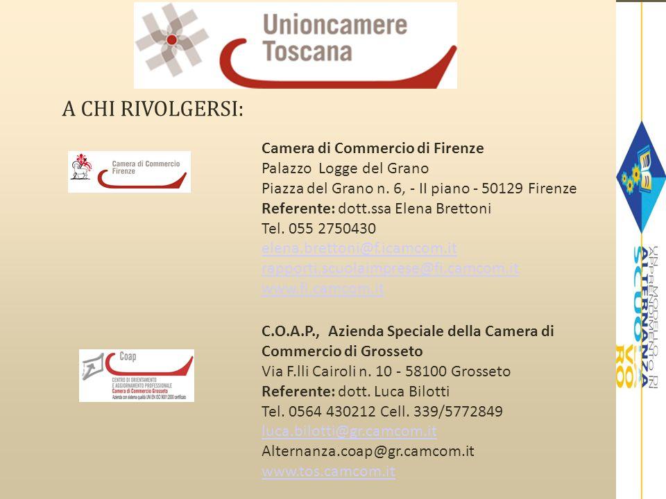 A CHI RIVOLGERSI: Camera di Commercio di Firenze Palazzo Logge del Grano Piazza del Grano n. 6, - II piano - 50129 Firenze Referente: dott.ssa Elena B