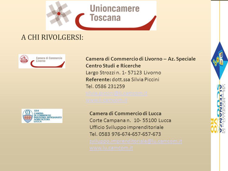 A CHI RIVOLGERSI: Camera di Commercio di Livorno – Az. Speciale Centro Studi e Ricerche Largo Strozzi n. 1- 57123 Livorno Referente: dott.ssa Silvia P