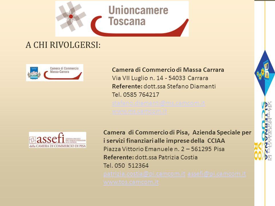 A CHI RIVOLGERSI: Camera di Commercio di Massa Carrara Via VII Luglio n. 14 - 54033 Carrara Referente: dott.ssa Stefano Diamanti Tel. 0585 764217 staf