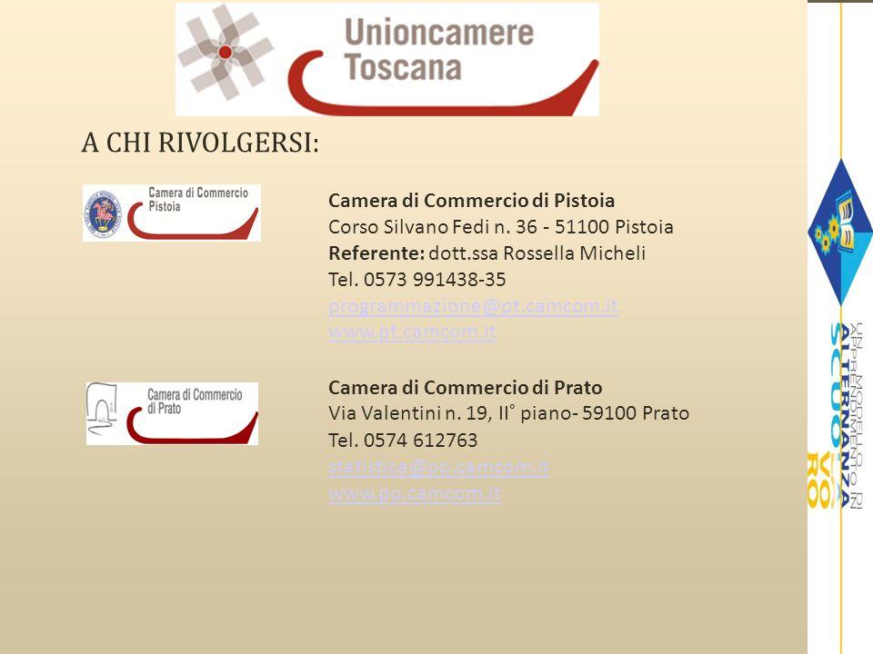 A CHI RIVOLGERSI: Camera di Commercio di Pistoia Corso Silvano Fedi n. 36 - 51100 Pistoia Referente: dott.ssa Rossella Micheli Tel. 0573 991438-35 pro