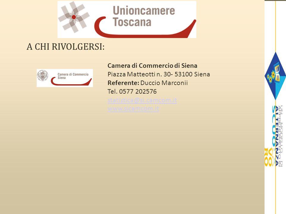A CHI RIVOLGERSI: Camera di Commercio di Siena Piazza Matteotti n. 30- 53100 Siena Referente: Duccio Marconii Tel. 0577 202576 statistica@si.camcom.it
