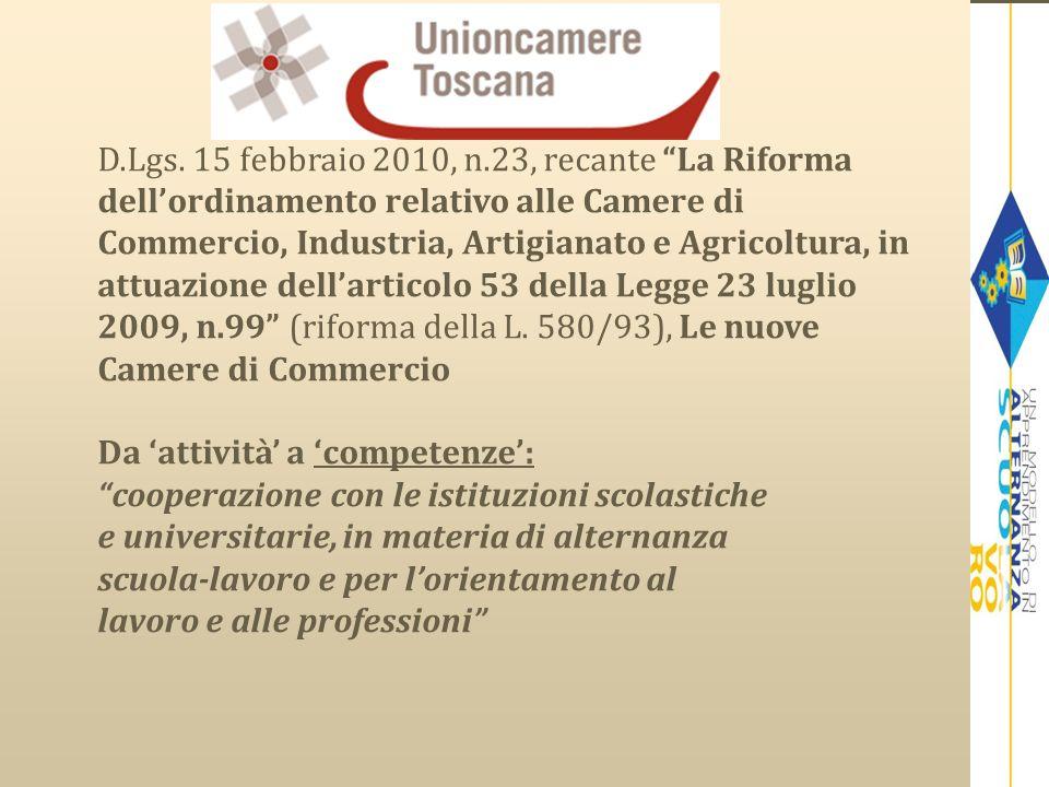 D.Lgs. 15 febbraio 2010, n.23, recante La Riforma dellordinamento relativo alle Camere di Commercio, Industria, Artigianato e Agricoltura, in attuazio