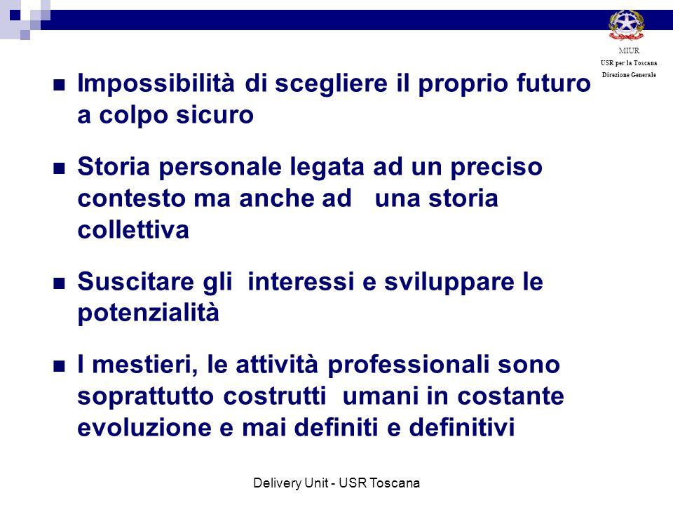 Fare sistema delle complessità I mestieri, le professioni non hanno più un loro profilo definito e definitivo ma sono in costante evoluzione e richiedono persone in costante evoluzione MIUR USR per la Toscana Direzione Generale Delivery Unit - USR Toscana