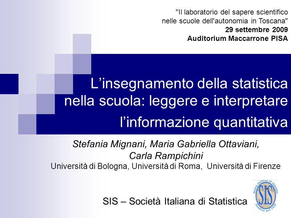 Linsegnamento della statistica nella scuola: leggere e interpretare linformazione quantitativa Stefania Mignani, Maria Gabriella Ottaviani, Carla Ramp