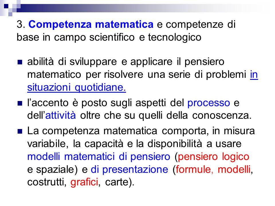 3. Competenza matematica e competenze di base in campo scientifico e tecnologico abilità di sviluppare e applicare il pensiero matematico per risolver