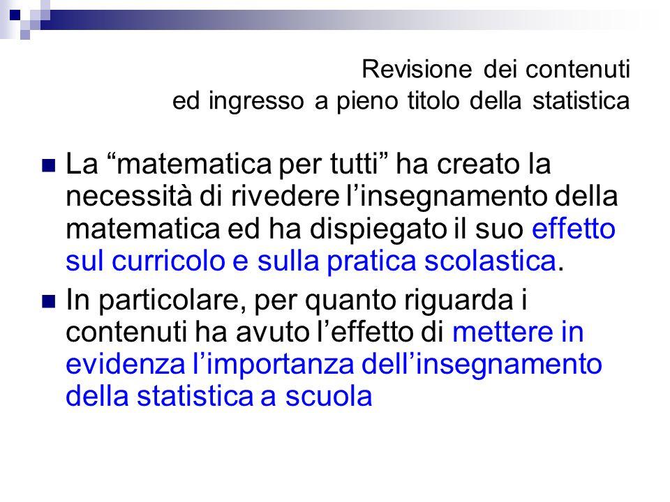 Revisione dei contenuti ed ingresso a pieno titolo della statistica La matematica per tutti ha creato la necessità di rivedere linsegnamento della mat