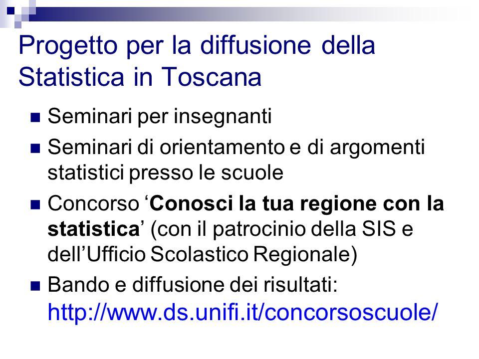 Progetto per la diffusione della Statistica in Toscana Seminari per insegnanti Seminari di orientamento e di argomenti statistici presso le scuole Con